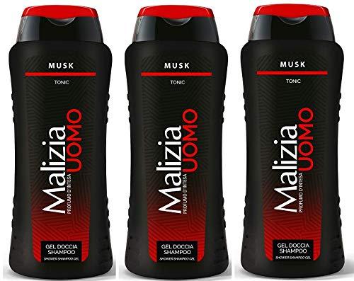 3x MALIZIA UOMO Musk Männer Duschgel & Shampoo 2in1 250ml Duschcreme Shampoo