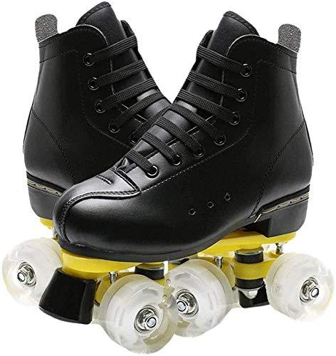 Pattini in Linea a Rotelle Roller Skates Sport Quad Rollerskates 4 Scarpe Ruote di velocità su Ghiaccio for Principianti for Uomo e Donna Adulto Unisex (Color : Black, Size : 39)