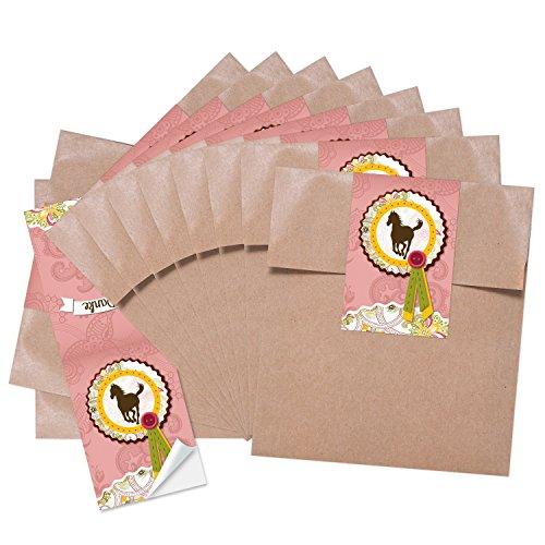 10 kleine braune Papiertüten Tütchen 13 x 18 + 2 cm Lasche mit Aufkleber PFERD in rosa pink - ideal um kleinen und grossen Pferde-Fans Geschenktüten Partytüten Mädchen Kinder-Geburtstag