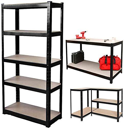 150 cm x 70 cm x 30 cm, 5-stöckiges Regal (175 kg pro Regal), robust, 875 kg Gesamtbelastung, schraubenlos, einfache Installation, Garage, Schuppen, Lagerregal