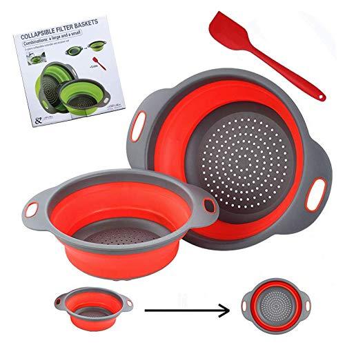 AR Diealles - Colador plegable de silicona, 2 unidades, colador de pasta plegable, filtro de silicona, filtro de verduras, cesta para frutas, juego de accesorios de cocina, color rojo