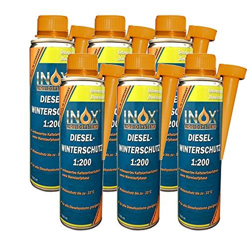 INOX® Diesel Winterschutz 1:200 Additiv, 6 x 250ml - Frostschutz Dieselzusatz Fließverbesserer für alle Dieselsysteme