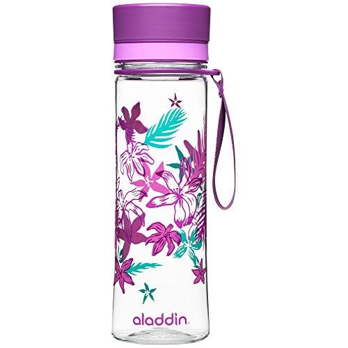 Aladdin AVEO Trinkflasche aus Tritan-Kunststoff, 0.6 Liter, Lila, Auslaufsicher, Durchsichtig, Wasserflasche Fahrradflasche