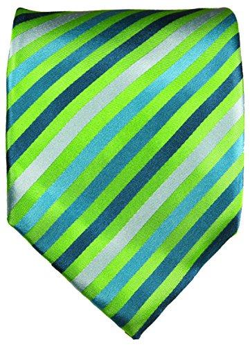 Cravate vert rayée ensemble de cravate 3 Pièces ( 100% Soie Cravate + Mouchoir + Boutons de manchette )