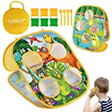 Lydaz Bean Bag Toss Game for Kids, Outdoor Beach Toys for Toddlers - Double Sided Dinosaur & Frog Themes Cornhole, Outside Party Games Birthday Gift for Boys Girls 3 4 5 6 7 8 Years Old