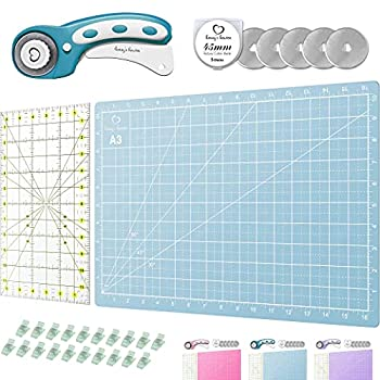 Rotary Cutter Set turquoise - Quilting Kit incl 45mm Fabric Cutter 5 Replacement Blades A3 Cutting Mat Acrylic Ruler and Craft Clips - Ideal for Crafting Sewing Patchworking Crochet & Knitting