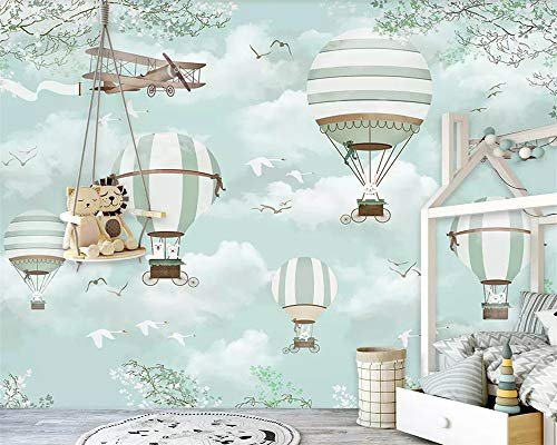 Große kundenspezifische Tapete Wandbild Cartoon Heißluftballon Flugzeuge Blauer Himmel Handgemalte Karikatur Kinder 3d Tapete, 350cmX245cm