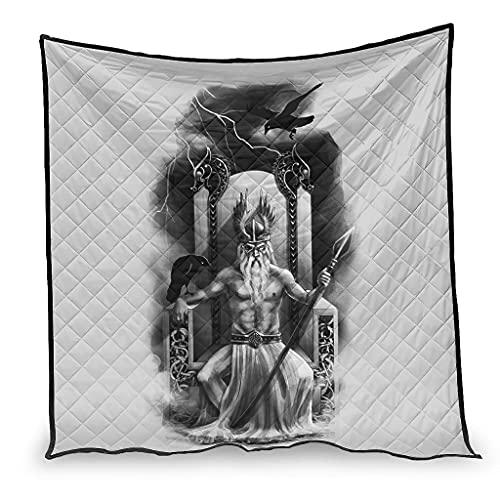 Dessionop Aire acondicionado vikingo Odin Speer cuervo dos dragones impresión del aire acondicionado secado rápido para sofá cama blanco 180 x 200 cm