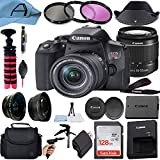 Canon EOS Rebel T8i DSLR Camera 24.1MP Sensor with EF-S 18-55mm f/4-5.6 is STM Lens, SanDisk 128GB Memory Card, Gadget Bag, Tripod and A-Cell Accessory Bundle (Black)
