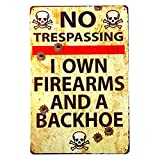 Vintage Metal Gun Sign No Trespassing Firearms Sign-I Own Firearms and...