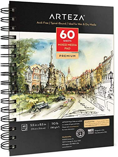 Arteza 5.5x8.5 Mixed Media Sketch Book, 3 Pack, 120 Sheets (60 / Each), 110lb/180gsm, (Acid-Free, Micro-Perforated), Spiral-Bound Pad, Ideal for Wet and Dry Media, Sketching, Drawing, and Painting