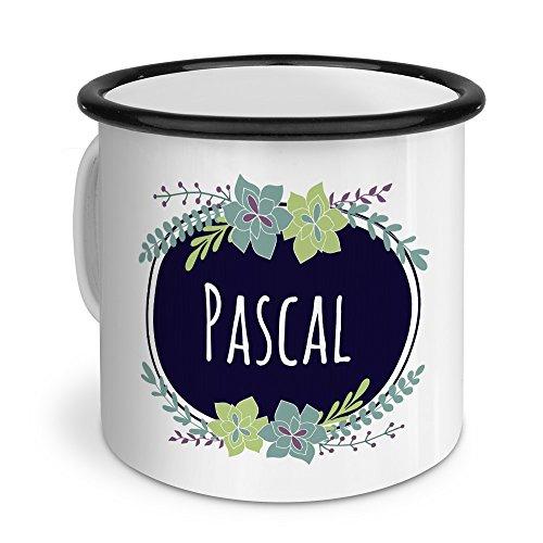printplanet Emaille-Tasse mit Namen Pascal - Metallbecher mit Design Flowers - Nostalgie-Becher, Camping-Tasse, Blechtasse, Farbe Schwarz