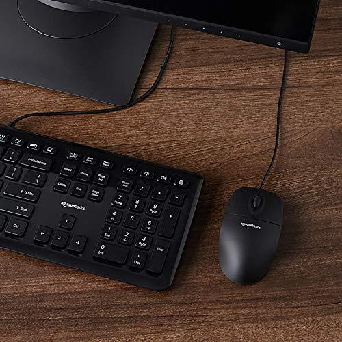 Amazon Basics - Optische Maus mit 3 Tasten und USB-Anschluss für Windows und Mac OS X, Schwarz