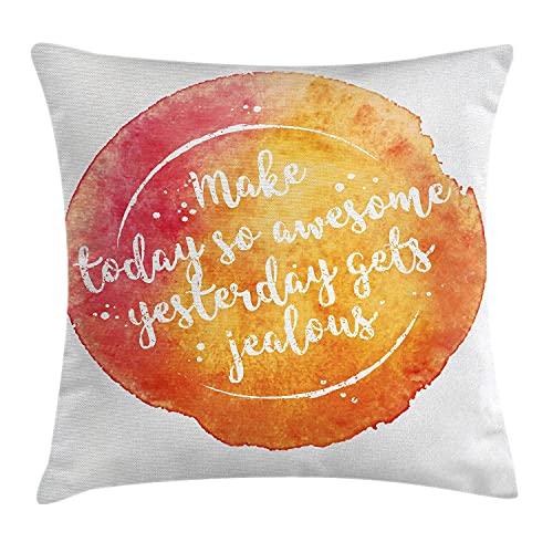Saying Throw Pillow Cojín, Mensaje Motivacional sobre Fondo Grunge Vibrante Felicidad, Funda de Almohada Decorativa con Acento Cuadrado, 16 'x 16', Naranja Coral