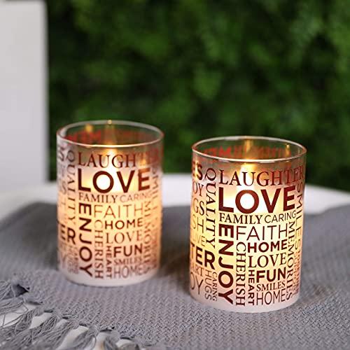 JHY DESIGN Set mit 2 Glas Batterie Kerzen 10cm Hohe LED Kerzen Wachs Flammenlose Kerze Flackernde Elektrische Kerze mit 6-Stunden Timer für Innen Outdoor Wohnzimmer Garten Balkon(Inspirierende Worte)