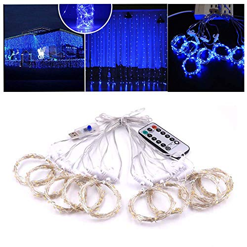 Box optronics 300 LED Curtain Lights Fairy String Lights for Bedroom Wall Wedding Backdrop Patio Party Garden, Blue, 8 Modes, Plug in Indoor Outdoor Decorative Window Twinkle Christmas Lights