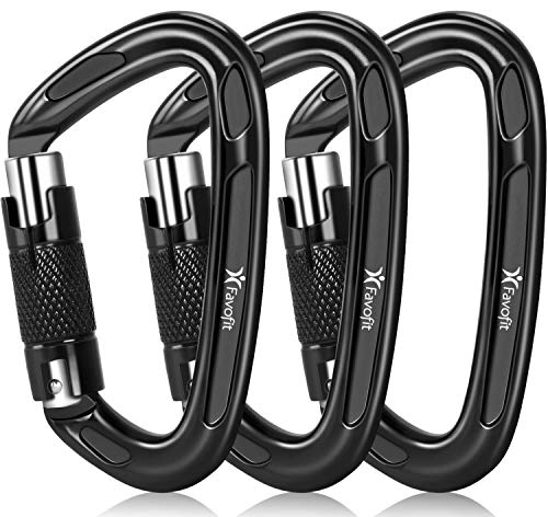 Favofit UIAA Certified Climbing Carabiners (Certificate No.: USA 20-5611), 3 Pack, 25KN (5620 lbs) Heavy Duty Large Locking Carabiner Clips for Rock/Ice Climbing Rappelling Rescue Swing etc., Black