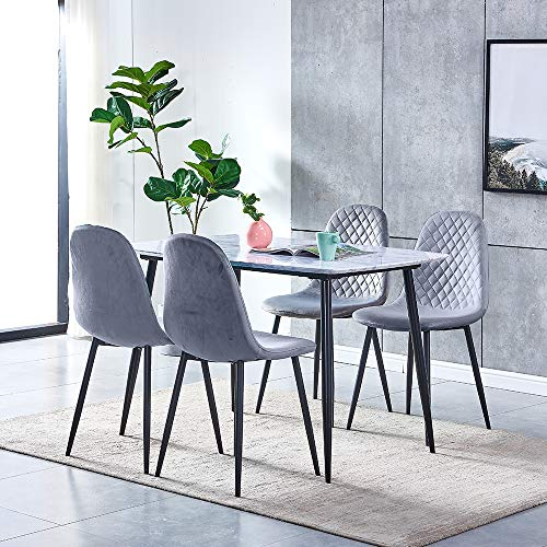 Huisen Furniture Marble-like Dining Table and Grey Velvet Chairs Set of 4, 5 Pieces Wood Kitchen Table with 4 Occasional Chairs Black Metal Legs for Small Dinette Apartment Space Saving