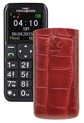 Suncase ECHT Ledertasche Leder Etui für Swisstone BBM 410 Tasche (Lasche mit Rückzugfunktion) in croco-rot