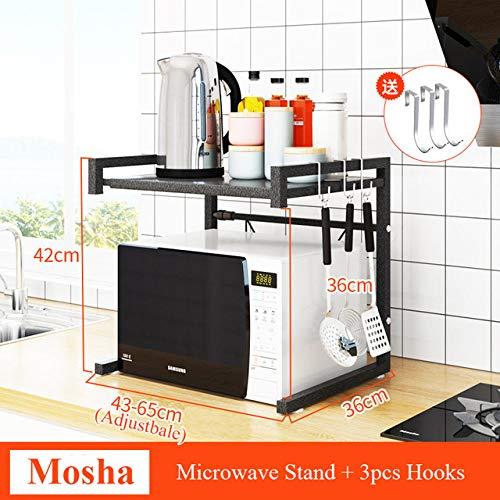 HJFGSAK Estante para horno de microondas, acero al carbono, suministros de cocina, soporte para almacenamiento de utensilios de cocina, ahorro de espacio, estante para cocina, Mosha