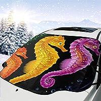 車フロント 車用 サンシェード 漫画自然海タツノオトシゴ 車のフロントガラス 日よけ 遮光 断熱 日焼け防止 防紫外線 暑さ対策 吸盤取付 四季用 車内温度対策 防水材料 147 X 118cm