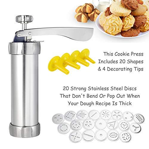 Sarplle Gebäckspritze Edelstahl Keksmacher Maschine Kit Gebäckpresse Cookie Keks Maschine mit 20 Schablonen und 4 Spritztüllen