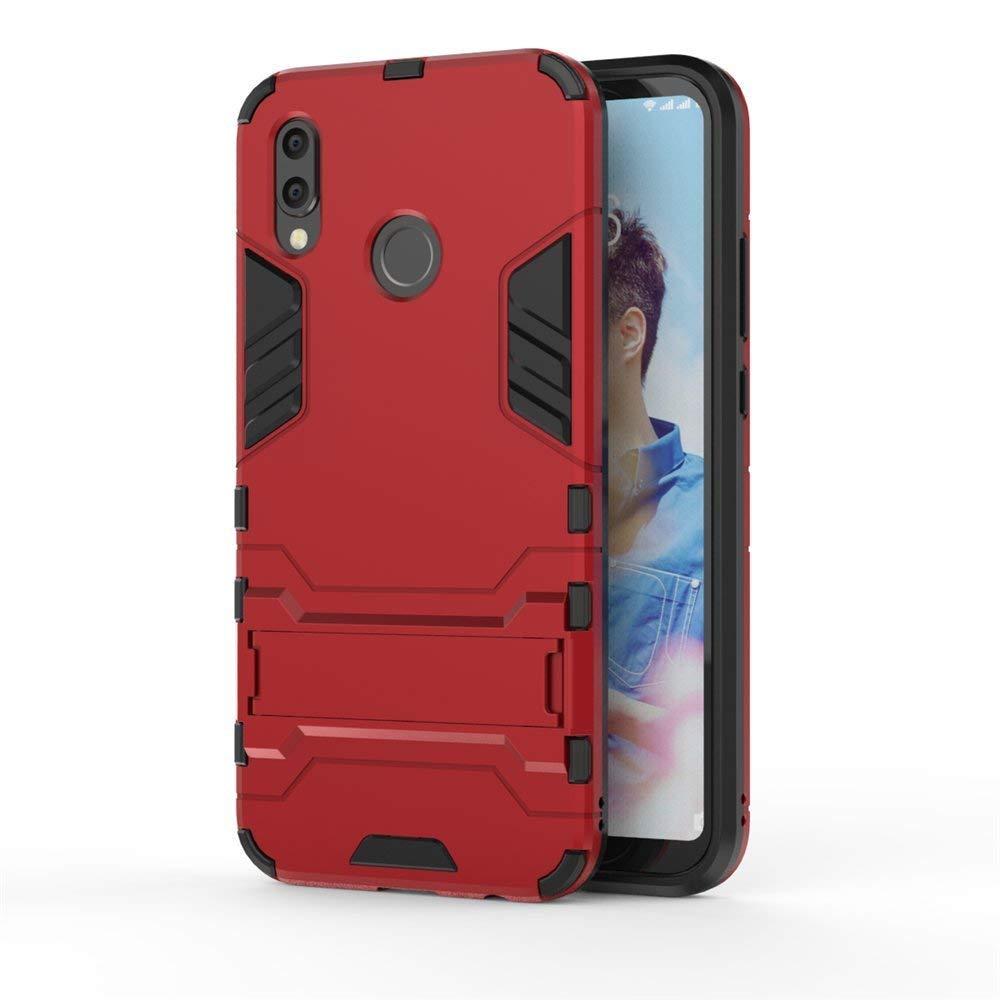 Huawei P20 Lite Funda, MHHQ 2in1 Armadura Combinación A Prueba de Choques Heavy Duty Escudo Cáscara Dura PC + Suave TPU Silicona Rubber Case Cover con soporte para Huawei P20 Lite -Red: