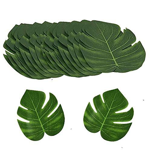 MUXItrade 24pcs Hoja de Palma Tropical Artificial Monstera Decoracion Mesa Verde Falsa de Imitación Hawaiana Luau Fiesta Boda Party Verano Selva Playa 20x18cm