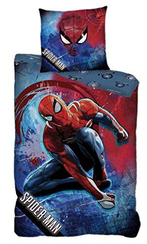 AYMAX S.P.R.L. Spider-Man - Juego de cama infantil (funda nórdica de 140 x 200 cm y funda de almohada de 63 x 63 cm), diseño de Spiderman