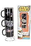 SD toys Set detazas Apilables Diseño Batalla Estrella-Halcon Star Wars, Cerámica, Negro, 11x12x35 cm, 3 Unidades