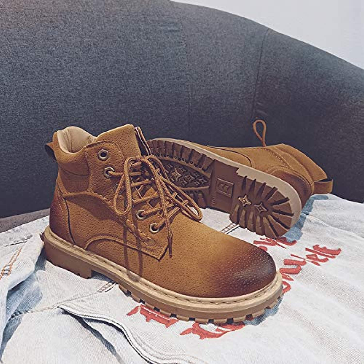 Shukun Men's boots Martin Boots Men'S High-Top Retro Personality Wild Boots Men'S Casual Outdoor Desert Boots Men