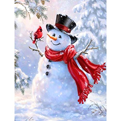 Diamond Painting Embroidery Paintings Pictures Arts Craft for Home Wall Decor Diamond Painting Full Drill 5D Diy Rhinestone Embroidery Kit For Home Wall Decor Christmas Snowman 11.8x15.7 in By Jestang