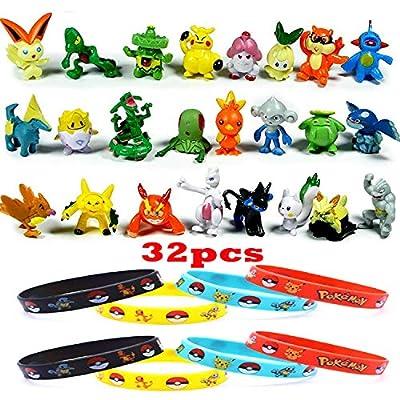 JIM - Juego de 32 Pokémon, Mini Figuras de acción de Pokémon Pikachu (24 Piezas) + Pulseras de Pokémon (8 Piezas) por JIM