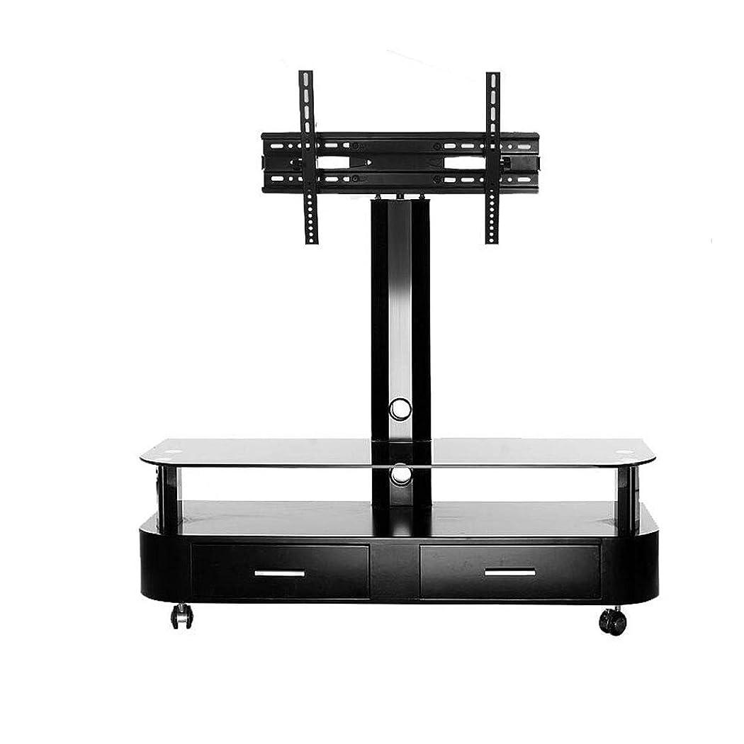 労働最終書士普遍的な Tv のカート、車輪が付いている立場の LED/Lcd のための台紙が付いている移動式 TV のトロリー床の立場はフラットスクリーン、高さ調節可能にする
