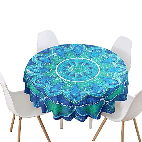 Chickwin Mantel Redondo para Mesa Impermeable y Antimanchas Mantel de Poliéster para Jardin, Comedor, Cocina, Salón Decoración, 3D Mantel Estampado de Mandala (Flor Verde Azul,90cm)