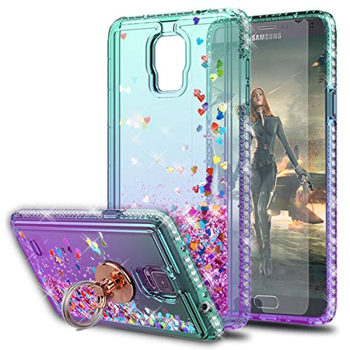 KaiMai Note 4 Case, Galaxy Note 4 Cases with HD Screen Protector with Ring Holder, Glitter Moving Quicksand Clear Cute Shiny Girls Women Phone Case for Samsung Galaxy Note 4-Aqua/Purple Ring