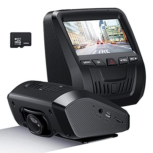 NEZINI Cámara de salpicadero para coche, grabadora de cámara de salpicadero con tarjeta SD de 32 GB, FHD 1080P, pantalla LCD de 3 pulgadas, grabadora de conducción con sensor de video Sony, modo de estacionamiento, ángulo de 150°, grabación en bucle, visión nocturna, WDR