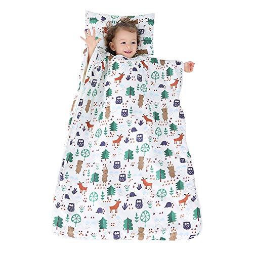 YFCH Baby/Kinder Jungen/Mädchen Schlafsack Kinderschlafsack Abziehbar Babyschlafsack Baumwolle Musselin Schlummersack Babydecke mit Kopfkissen, Forst und Tiere, 90 × 120CM