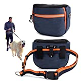 risdoada Dog Treat Pouch for Training, 4 Ways to Wear Auto Closing Portable Dogs Walking Bag with Adjustable Belt, Oxford Cloth Pet Food Container with Poop Bags Dispenser, Blue