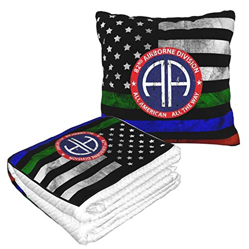 The Best Airborne Division in The U.S Pillow Blanket 2 in 1 - Soft Cozy Multifunctional Decorative Pillow Throw Quilt for Home Travel Car