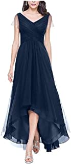 neveraway Women Asymmetric V-Neck Swing Party Short Sleeve Long Maxi Dress