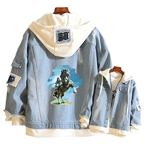 Li Lang Herren Spiel Jeansjacke Zelda Harajuku (Zelda Harajuku) Anime Street Frühling und Herbst Maxi-Hoodie Damen Jeans Sweatshirt (Color : 4, Size : XX-Large)
