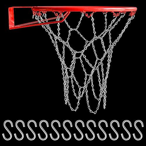 CODIRATO - Rete di ricambio per pallacanestro, con 12 anelli standard, con gancio a S, per campi da basket interni ed esterni, colore: argento