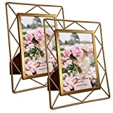 4x6 Metal Picture Frames for Tabletop or Wall Mounting Display, 2 Pack 6 x 4 Photo Frame with Glass