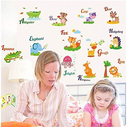 Tierzoo Tierwörter WortstudieFluoreszierende Wandaufkleber Wohnzimmerdekoration