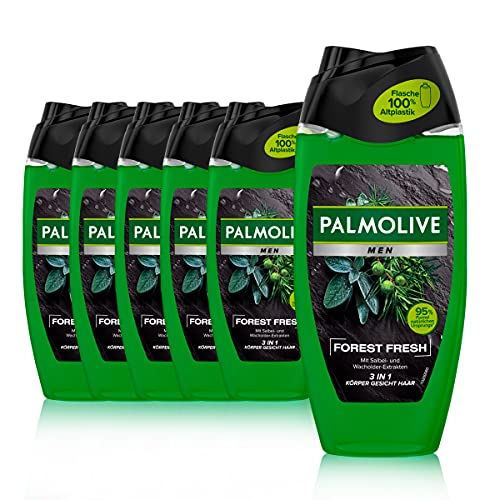 Palmolive Men Duschgel Forest Fresh 6 x 250ml - 3in1 für Körper, Gesicht & Haar - mit Salbei- & Wacholder-Extrakten