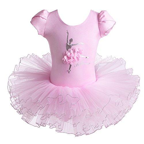 HUAANIUE Mädchen Ballettkleid~Kinder Ballettanzug Tanz Trikot mit Tüll Röcken