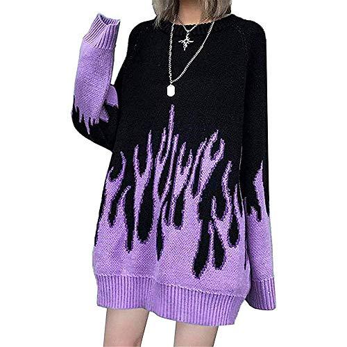 WANCHDP Chaqueta de punto para mujer, manga larga, diseño de llamas, talla grande, estilo hip hop morado Talla única