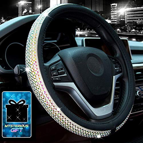 Didida Bling Steering Wheel Cover for Women Girl Diamond Crystal Rhinestones Wheel Cover Universal 15 Inch(Colorful)