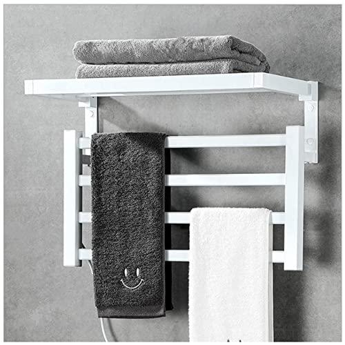 EEUK Radiador toallero electrico baño Pared, Calentador de Toallas electrico con calefacción secador Toallas baño electrico pequeño para baño, 4 Barras, 55w(Size:Right Wiring -110V,Color:Blanco)